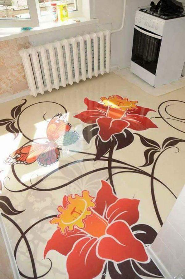 Porcelanato Líquido Desenhado Flores Laranja e Preto
