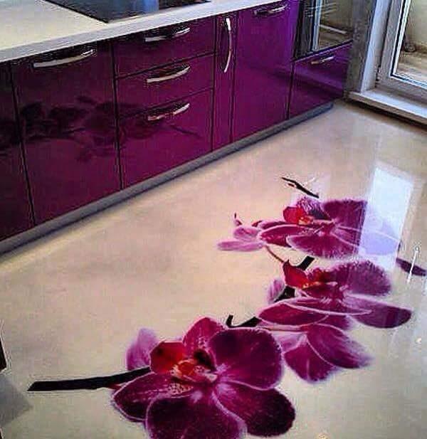 Porcelanato Líquido Desenhado Orquídeas